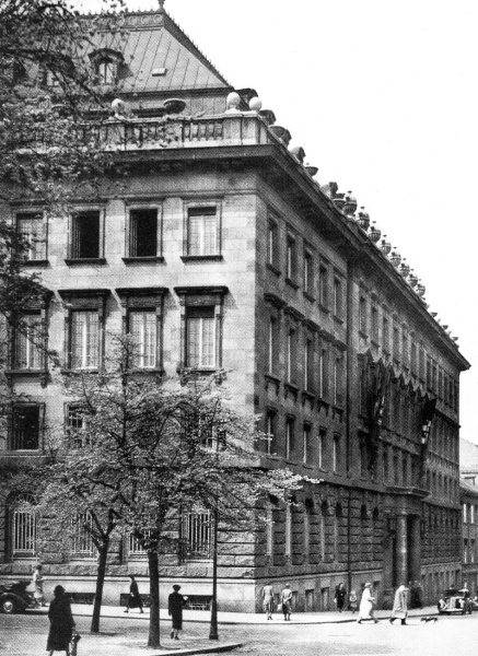 Pečkův palác, Pečkárna - Petschek Palace in Prague - headquarters of gestapo for the Protectorate of Bohemia and Moravia. 1941.