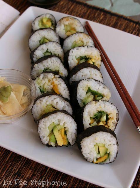 La Fée Stéphanie: Maki sushi vegan: salade, mangue, concombre et avocat