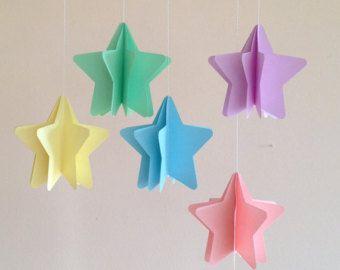 Stelle d'appendere, set 5 pezzi, decorazioni per camerette dei bambini, nursery, feste a tema, baby shower, feste di compleanno, 3D