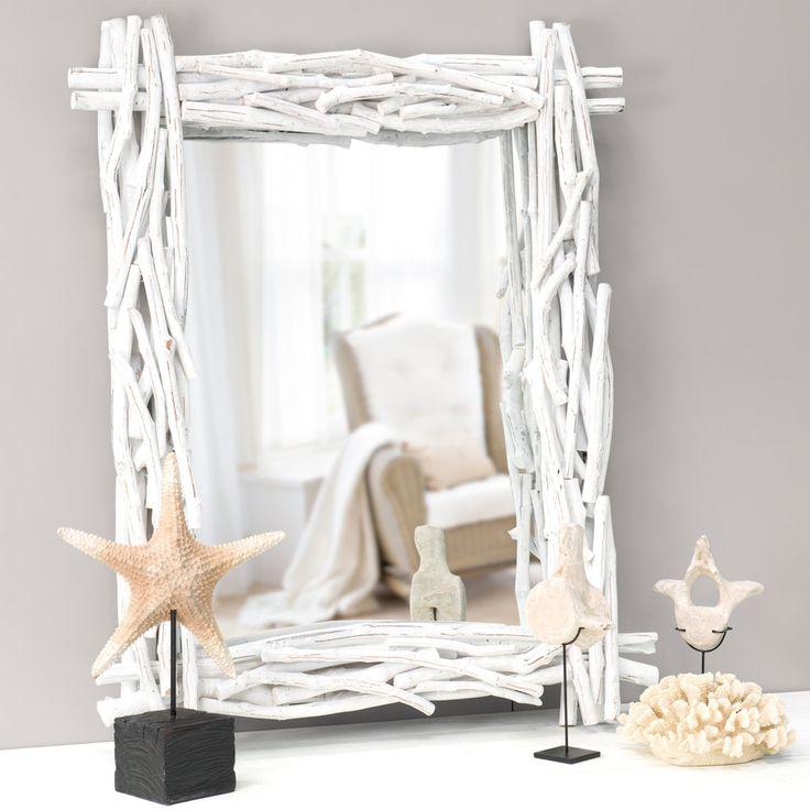 Specchio bianco in legno fluitato H 115 cm FJORD