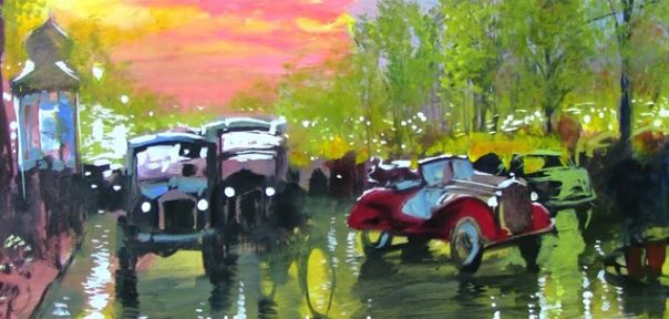 """Dessin et peinture - vidéo 1922 : Un matin de pluie, dans le Paris des """"années folles"""" - paysage urbain à la peinture à l'huile."""