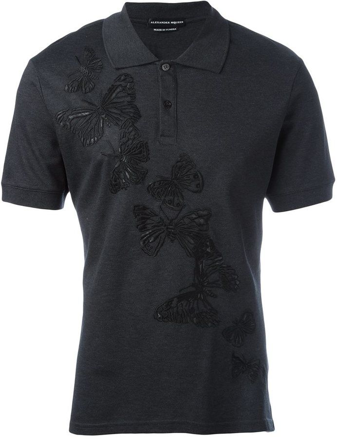 Alexander McQueen butterfly embossed polo shirt