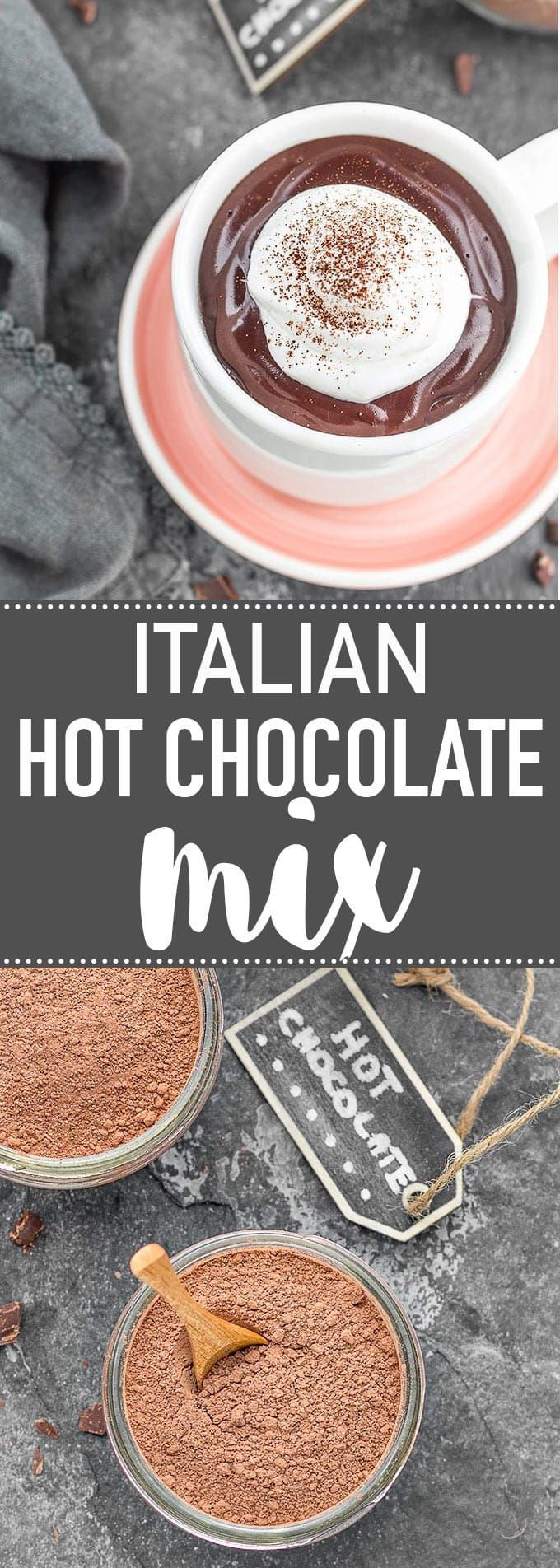 This Italian hot chocolate mix is extra thick, creamy and SO delicious! Make a big batch and wrap it in jars to give as gifts to friends and family! via /easyasapplepie/