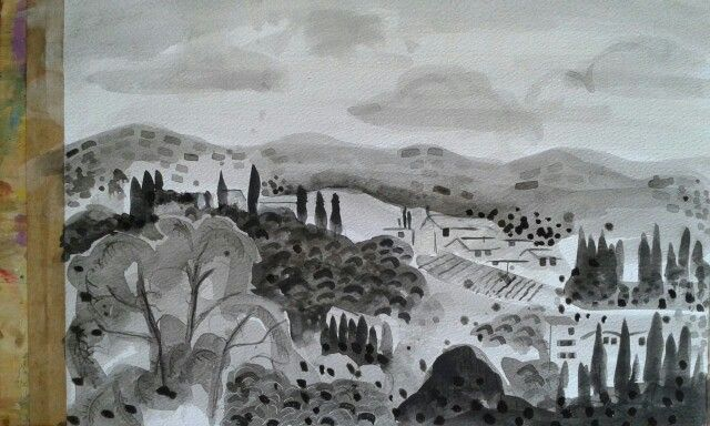 Tuscan landscape painted on paper with black ink.  Done at the art school in Casole d'Elsa, Tuscany, Italy, called Verrocchio - a wonderful painting holiday with teacher Bella Green.  Helen Mudge is South African