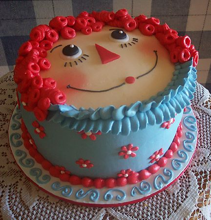 Raggety Ann Cake ~ love the design and colors!Raggedy Anne, Raggedyann, Cupcakes, Food, Cake Decor, Parties Ideas, Anne Cake, Decor Cake, Birthday Cake