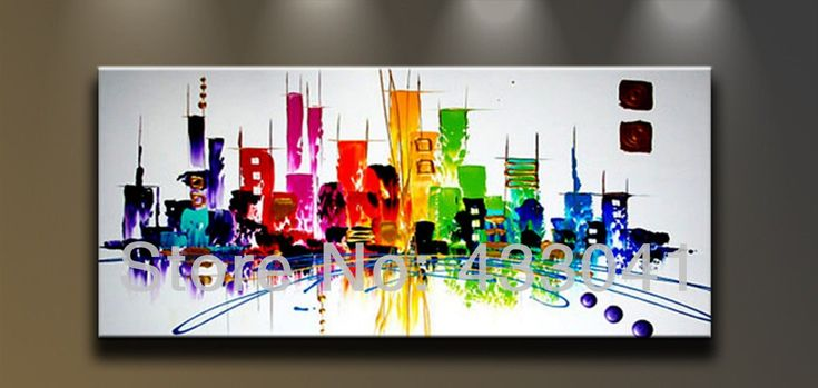 Hand Painted Large City Building Landscape Oil Painting Abstract Wall Art Modern Canvas Picture Home Decor For Sale