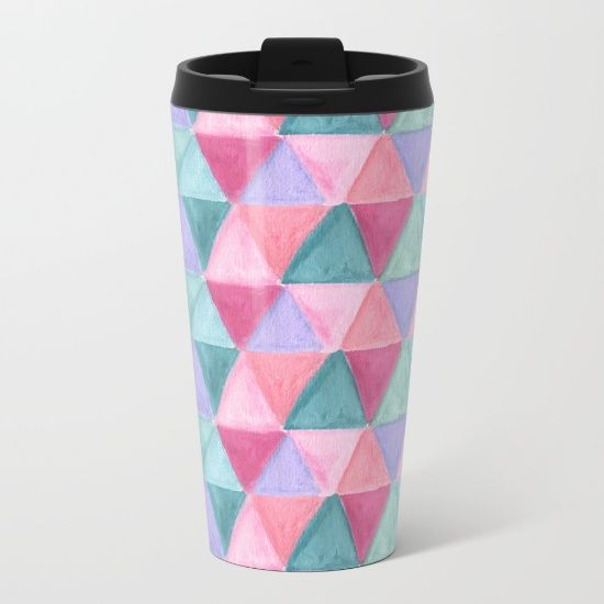 pastel triangle pattern Metal Travel Mug