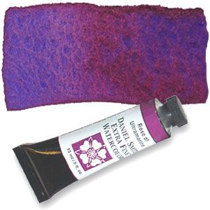 Rose of Ultramarine (PB29 PV19) 15ml Tube, DANIEL SMITH Extra Fine Watercolor Blue settles as rose floats (unattainable seperation like this & depth of color when mixing own purple)