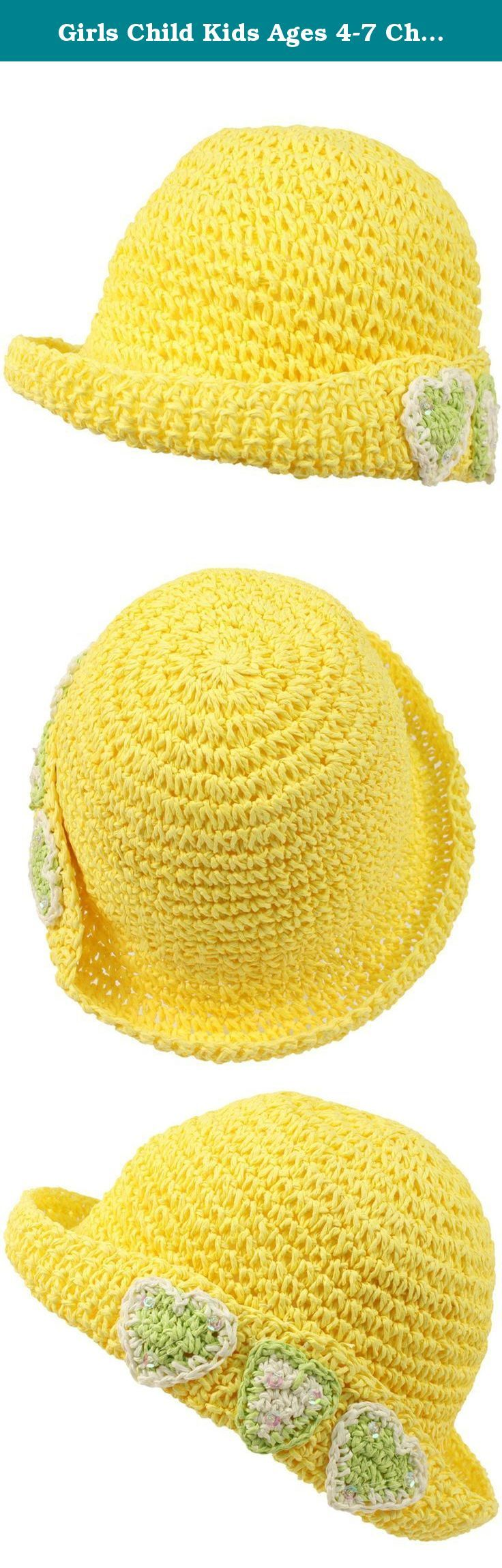 Girls Child Kids Ages 4-7 Child Summer Sun Bucket Crusher Hat Cap Yellow 53cm. Just like mom! New Kids Girls Child Crushable Packable Summer Spring Bucket Crusher Sun Hat Cap with 3 cute hearts with sequins. Crushable, Packable, Fold it up & Ready to Go! Interior sweat band. Vented and Airy. Perfect for hot weather to keep harmful sun and UV rays out of their face. Or even a formal affair like weddings, formals, Kentucky derby, how about a picnic, a costume for a play, performances, a day…