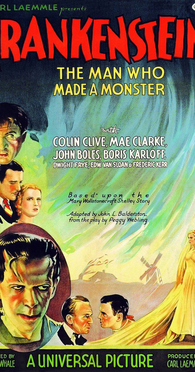 Directed by James Whale.  With Colin Clive, Mae Clarke, Boris Karloff, John Boles. An obsessed scientist assembles a living being from parts of exhumed corpses.