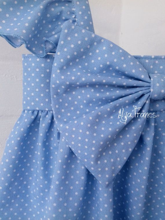 Big Bow Dress, Baby and Toddler Girl dress polka dot 100% Organic cotton Easter peas Dress white blue , Merry christmas dress  Condition: New - handmade Colour: blue/white Brand: Alya Francs  This adorable, timeless, Big Bow Dress is perfect for your stylish little lady! This dress is made from high quality, 100% organic, designer fabric. Your little one will be wearing something that is truly one of a kind!  Care instructions: Hand wash or put in the delicate/gentle cycle using col...