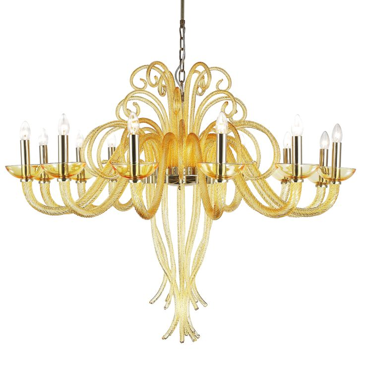 #Chandelier made of best quality #blown #glass. Extremely decorative chandelier brings to mind underwater forms. Chromed gold construction gives #elegance and #luxurious look. Perfect finishing, easy montage and design look are one of the advantages of this product.
