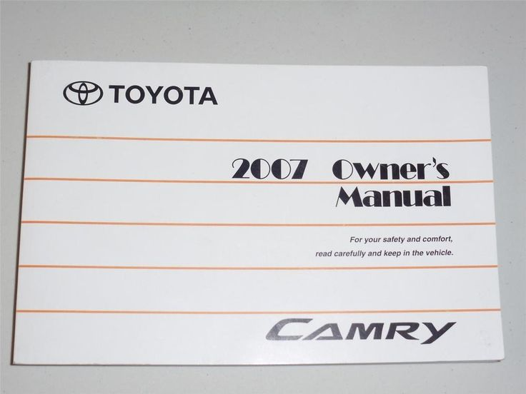 2007 toyota camry owners manual book. Black Bedroom Furniture Sets. Home Design Ideas