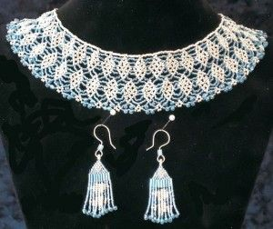 Blue and Silver beaded necklace and dangling earrings with Diamond motifs
