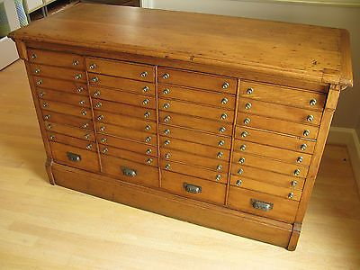 Rare Antique 1800s Oak Courthouse Doent Storage Cabinet 36 Drawers