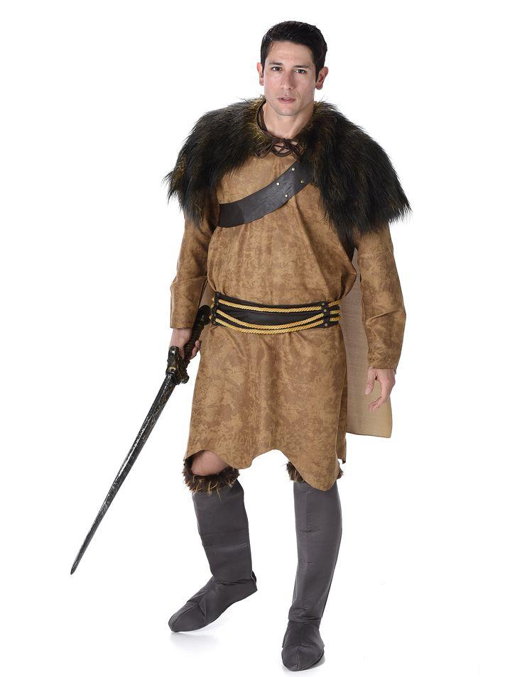 Disfraz de vikingo marrón hombre: Este disfraz de vikingo incluye túnica, capa y cinturón (espada y cubre zapatos no incluidos).La túnica es larga hasta las rodillas. Es de color beige con efecto ante y mangas...