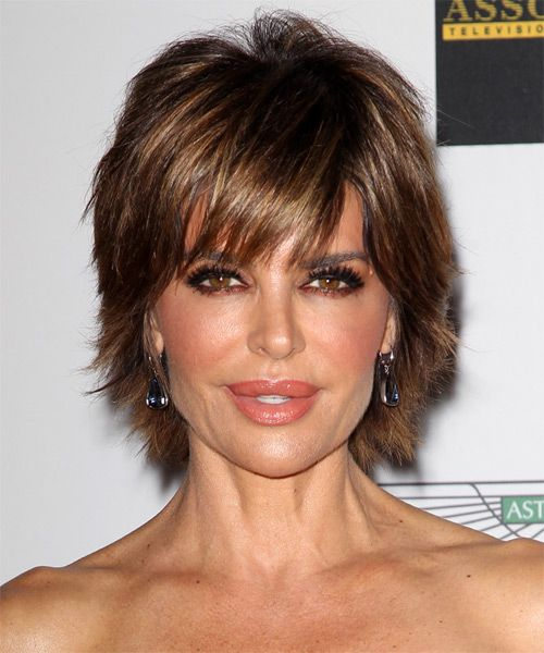 Lisa Rinna Hairstyle - Short Straight Casual - Medium Brunette. Click on the image to try on this hairstyle and view styling steps!