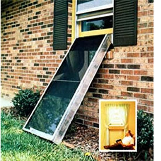 Build this DIY solar heating collector, the Heat Grabber. For garages or basements -- attaches to your window (no need to drill holes in your house)