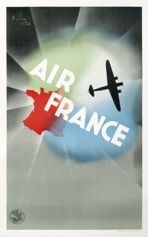 """Air France Reseau Aerien Mondial"" by Albert Solon, 1934"