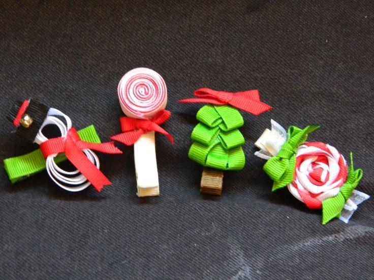 Christmas Ribbon Hair Clips!