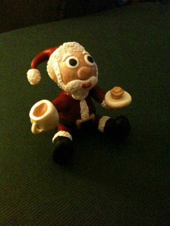 Handmade clay father Christmas x