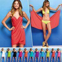 Nuevo mujer vestidos de playa para mujer Sexy Bikini playa vestido corto con el tren de largo mujer Victoria v-cuello del verano ropa de playa de seda del hielo leche ropa