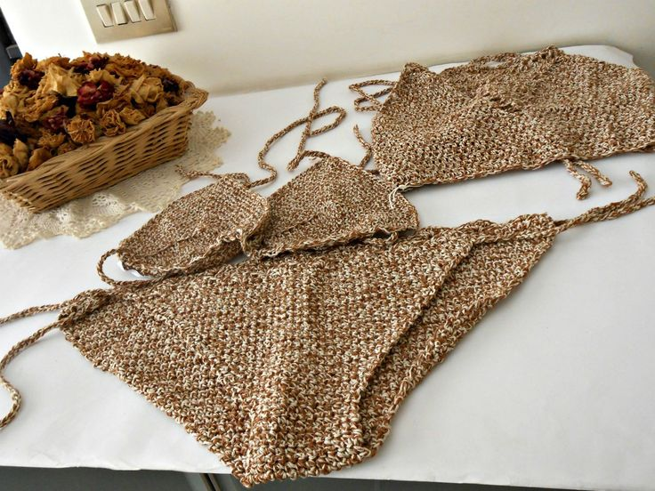 bikini più prendisole all'uncinetto, canotta bikini top fatto a mano, costume da bagno crochet, bikini a triangolo e top a uncinetto by cosediisa on Etsy