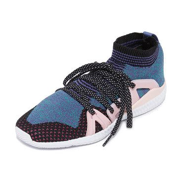 crazymove bounce sneakers by adidas by Stella McCartney. Colorful adidas by Stella McCartney sneakers in a mix of patterned knits. Polka-dot laces secure the rubber side pane...