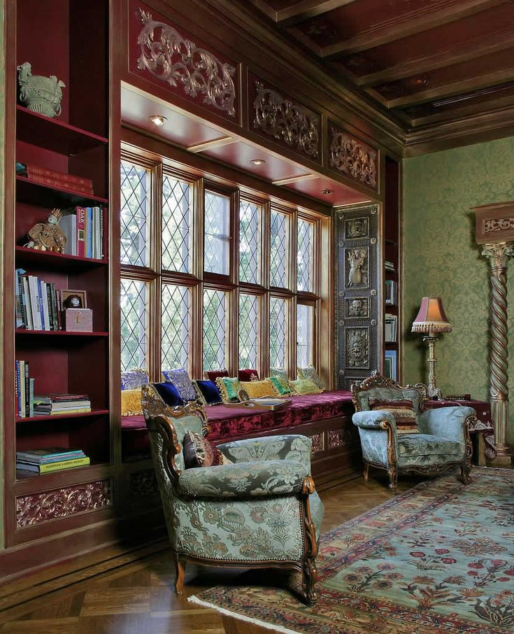 Victorian Gothic interior style: I know this room is a bit large to seem cozy, but my thinking on sitting on the window seat in front of that beautiful window delighted me.
