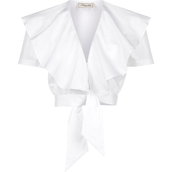 Temperley London Payton Tie Front Ruffle Shirt ($510) ❤ liked on Polyvore featuring tops, blouses, crop top, shirts, temperley london, white short sleeve shirt, white short sleeve blouse, white collared blouse, ruffle collar blouse and white blouse