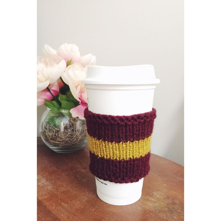 Knit Coffee Sleeve, Knit Coffee Cozy, Cozy Sleeve, Knt Tea Cozy, Maroon Coffee Sleeve, Gold Coffee Sleeve, Knit Cup Sleeve, Travel Cozy by ChicKnitPicks on Etsy https://www.etsy.com/listing/269796774/knit-coffee-sleeve-knit-coffee-cozy-cozy