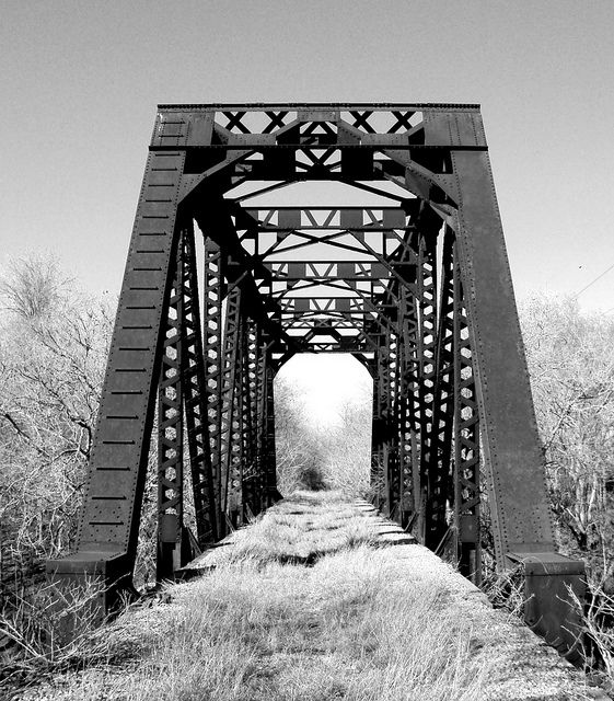 Abandoned Through Truss Railroad Bridge over San Bernard River, Newgulf, Texas 0212111530BW by Patrick Feller, via Flickr