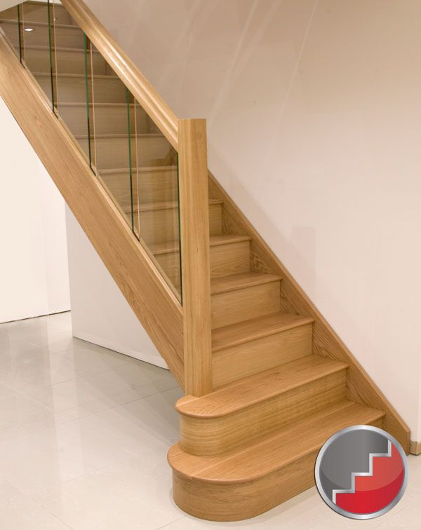 Oak Houston Staircase inline glass panels