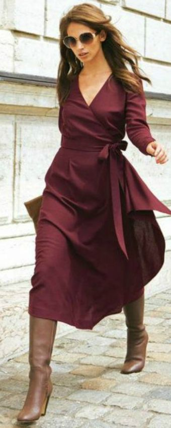 Burgundy Midi Dress On Camel Boots Fall Street Style Inspo - Total Street Style Looks And Fashion Outfit Ideas
