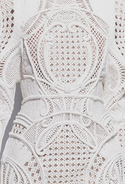 White dress detail with intricately woven panels; fabric manipulation; fashion close up // Balmain Spring 2013 rtw