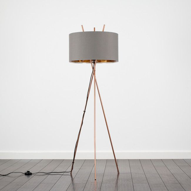 Crawford Copper Floor Lamp With Grey And Gold Shade Lounge Floor Lamp Tripod Floor Lamps Copper Floor Lamp
