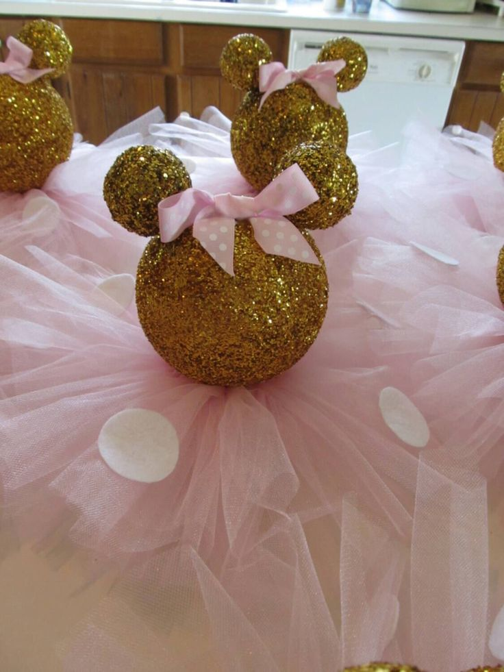 Gold Glittery Minnie Mouse Table Centerpiece Birthday Party Baby Shower Decor White Polka Dots Light Pink Bow Tutu Skirt by PartyStylingsofMandy on Etsy https://www.etsy.com/listing/229706084/gold-glittery-minnie-mouse-table