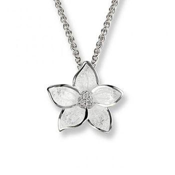 Nicole Barr Silver and Diamond 'Stephanotis' Floral Pendant