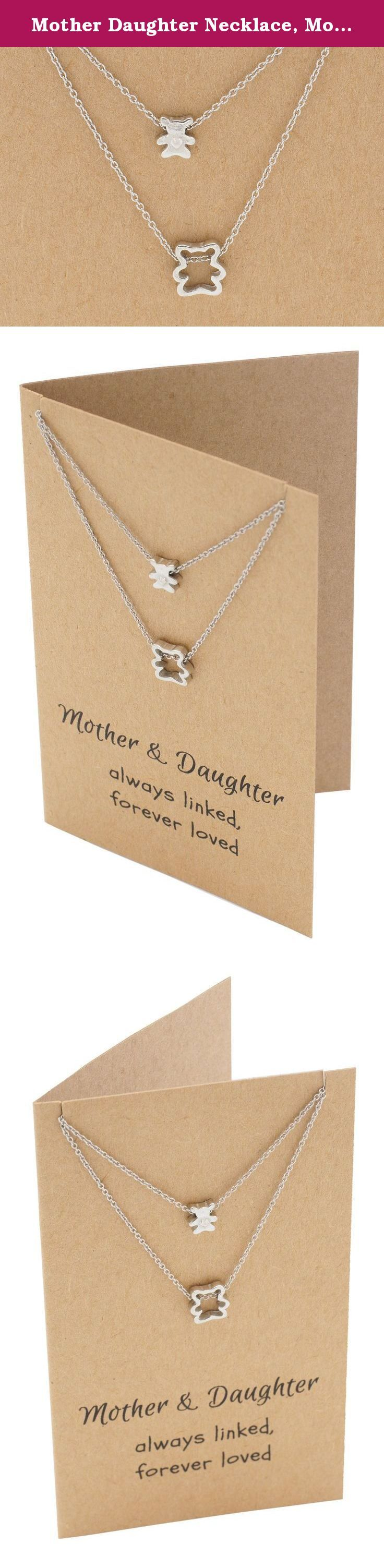 Mother Daughter Necklace, Momma Bear and Baby Bear Pendants, with Greeting Card, 16-in to 18-in. If you are searching for granddaughter gifts, gifts for daughter, mother daughter jewelry, mother to daughter gifts, mother daughter set, here is the perfect ready-made mother daughter jewelry necklace gift set. The package includes a totally cute teddy bear necklace for mom and one for daughter.
