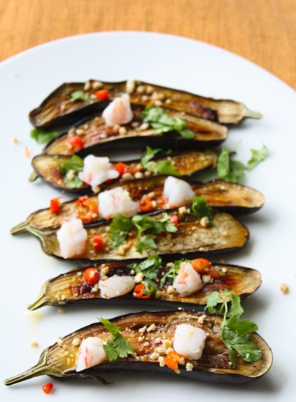 Thai-Style Baked Baby Eggplant Salad with Poached Shrimp: Baking Baby, Recipes Remix, Poached Peaches, Salad Recipes, Baby Eggplants, Eggplant Salad, Healthy Recipes, Healthy Food, Eggplants Salad