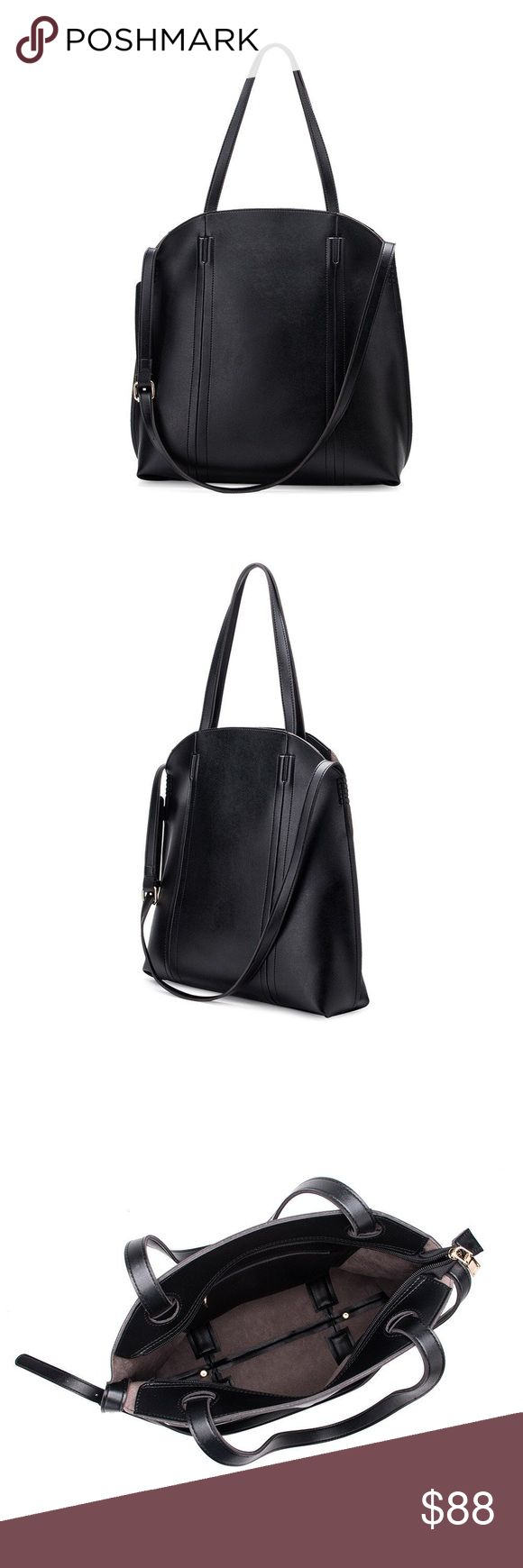 MELIE BIANCO - Genevie Tote Melie Bianco Premium Vegan Leather Top Zipper Interior Zipper Removable Crossbody Strap Included Dimensions 16.75'L x 4'W x 16H' Colors: Black Melie Bianco Bags Totes