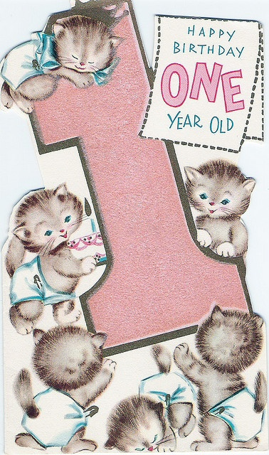 "cute vintage kittens in diapers, ""Happy Birthday ONE YEAR OLD"""