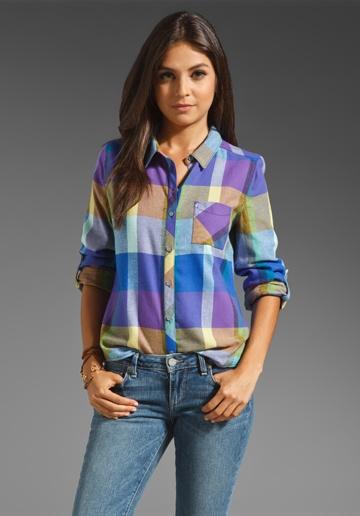 C CALIFORNIA Color Block Plaid Roll Sleeve Pocket Shirt