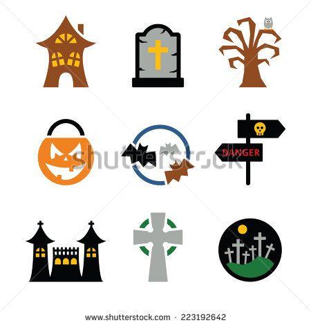 Halloween vector icons set  by RedKoala #scary #grave #scaryhouse #spooky #pumpkin