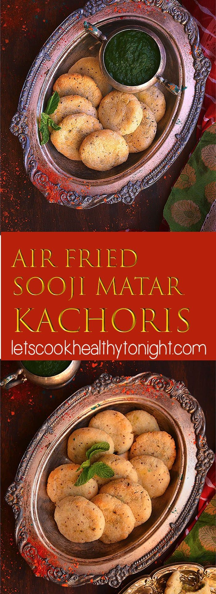 Air fried Sooji Matar Kachoris are a very delicious and healthy version of traditional deep fried Sooji Kachoris made with semolina and green peas.