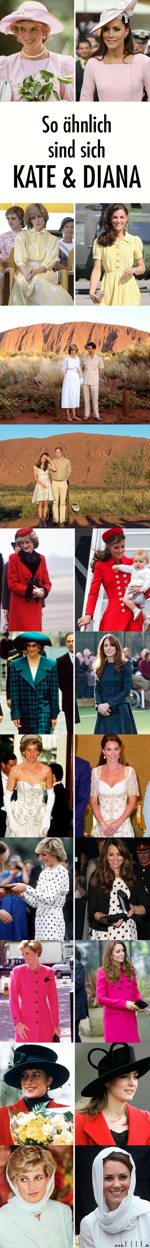 Herzogin Kate gab nicht nur ihrer Tochter Dianas Namen, sondern kleidet sich auch oft wie die verstorbene Prinzessin. Wir zeigen die Parallelen zwischen den Outfits der beiden Royals.