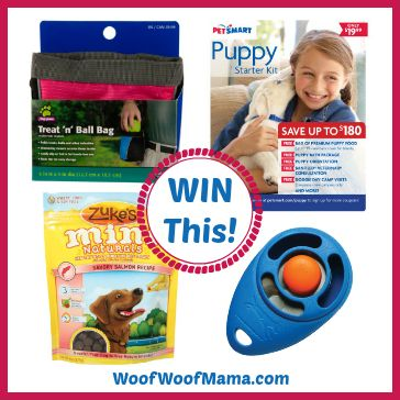 Win a 6-Week PetSmart Dog Training Class or Training Tools Prize Pack!  Learn more at woofwoofmama.com