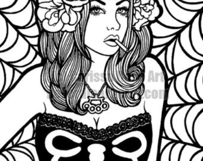 Descargar imprimir tu propio libro para colorear del esquema página - Pin Up chica por Carissa Rose