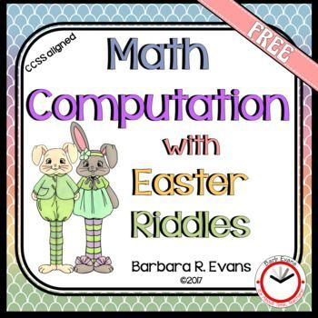 Use these EASTER RIDDLES task cards to give your students addition computation practice that is tons of fun.  2 digit addition without regrouping.