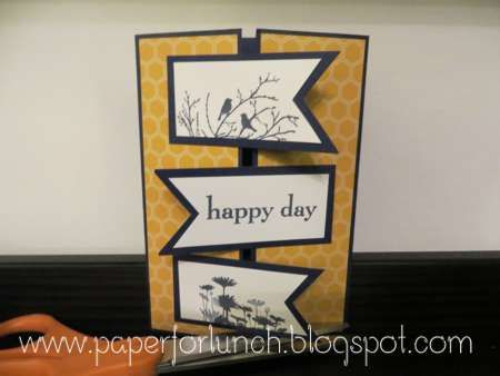 I saw this originally with the dsp in Night of Navy but it looks really great with the yellow. k The Stamp sets are all Stampin up